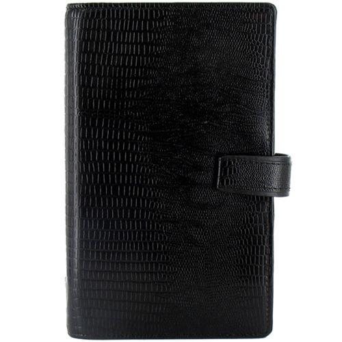 Органайзер Filofax Compact Luxe кожаный черный с фактурой рептилии, фото