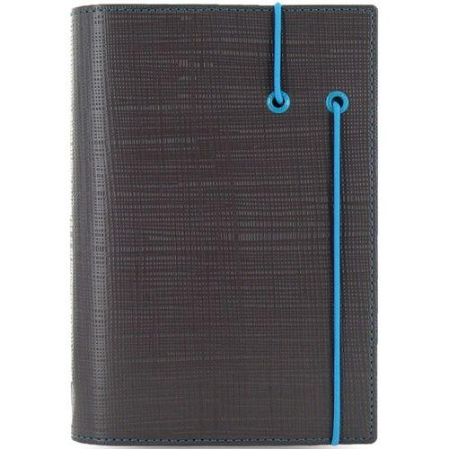 Органайзер Filofax Personal Apex темно-серый с фактурой Сафьяно и голубой резинкой-креплением, фото