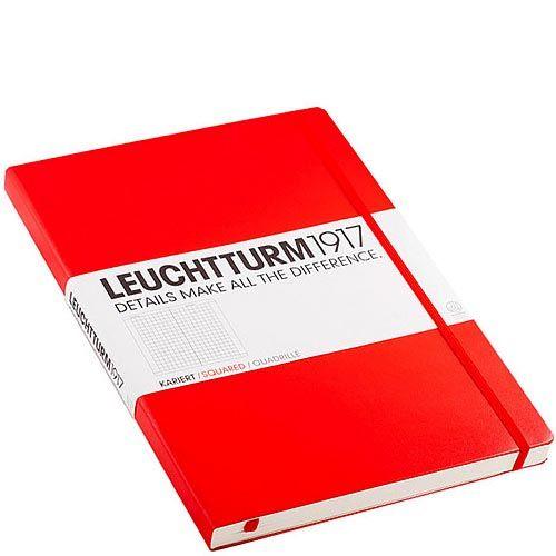 Большая записная книжка Leuchtturm1917 Мастер А-4 Классик красного цвета в клетку, фото