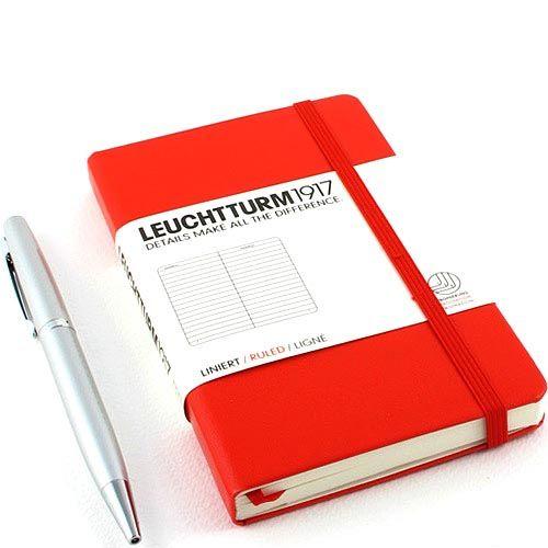 Карманная записная книжка Leuchtturm1917 красного цвета в линейку, фото