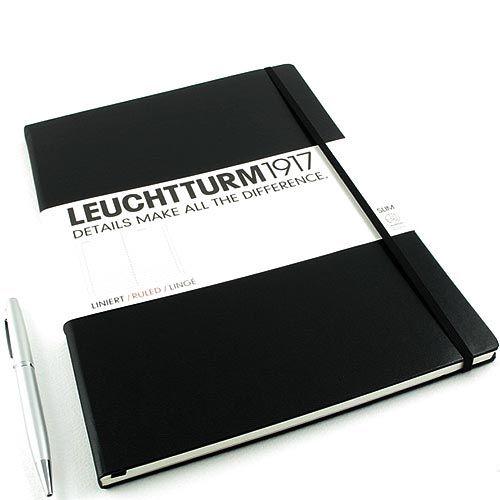 Большая записная книжка Leuchtturm1917 Мастер А-4 Слим черного цвета в клетку, фото