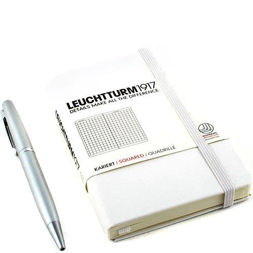 Карманная записная книжка Leuchtturm1917 белого цвета без разметки, фото