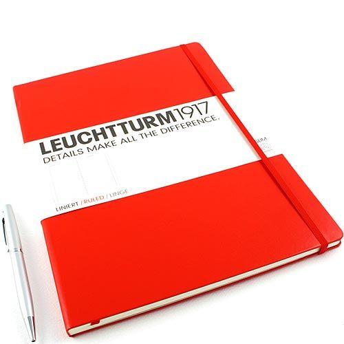 Большая записная книжка Leuchtturm1917 Мастер А-4 Слим красного цвета в клетку, фото