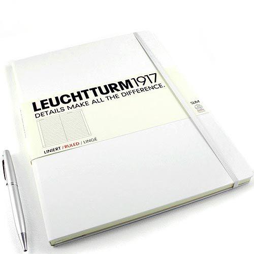 Большая записная книжка Leuchtturm1917 Мастер А-4 Слим белого цвета в клетку, фото