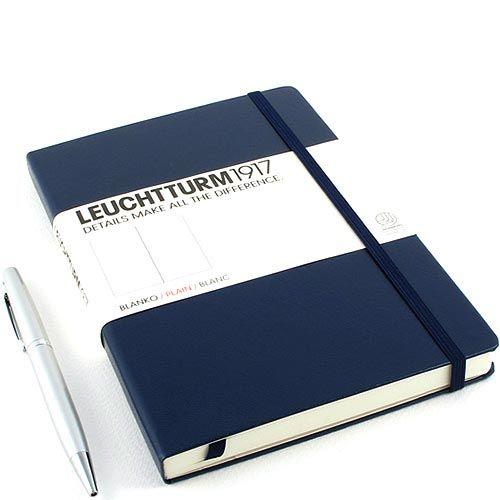 Средняя записная книжка Leuchtturm1917 темно-синего цвета без разметки, фото