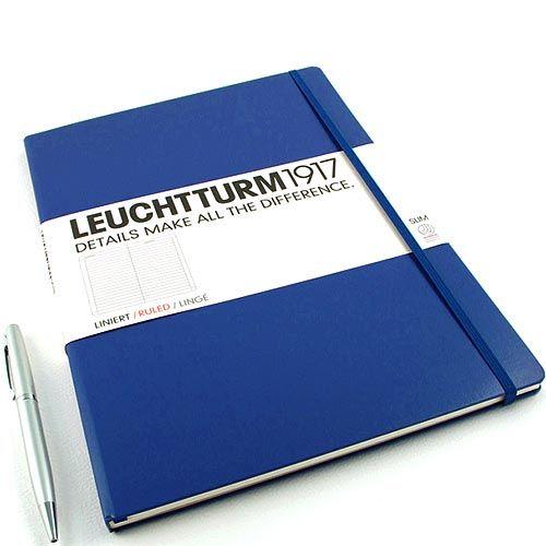 Большая записная книжка Leuchtturm1917 Мастер А-4 Слим темно-синего цвета без разметки, фото