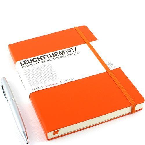 Средняя записная книжка Leuchtturm1917 оранжевого цвета в клетку, фото