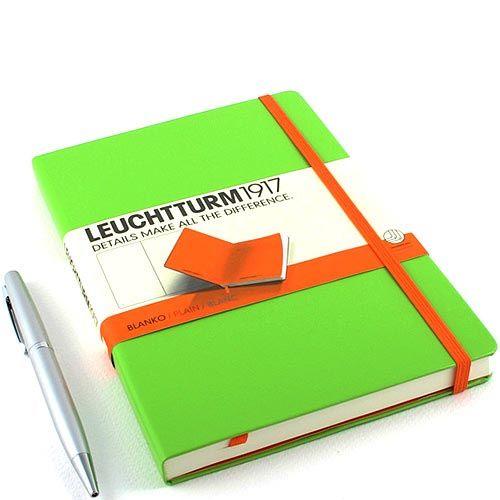 Средняя записная книжка Leuchtturm1917 Би-колор оранжевого и ярко-зеленого цвета без разметки, фото