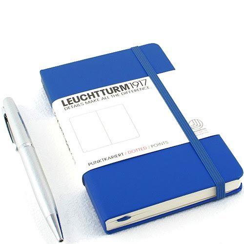 Карманная записная книжка Leuchtturm1917 синего цвета с разметкой точкой, фото