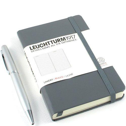 Карманная записная книжка Leuchtturm1917 серого цвета в клетку, фото