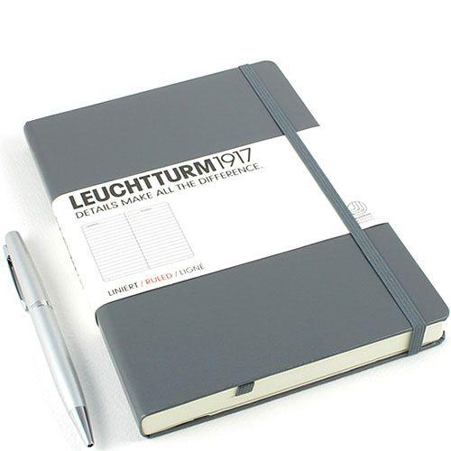 Средняя записная книжка Leuchtturm1917 серого цвета в клетку, фото