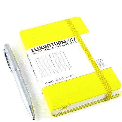 Карманная записная книжка Leuchtturm1917 лимонного цвета в клетку, фото