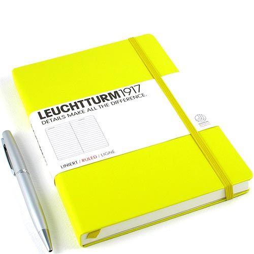 Средняя записная книжка Leuchtturm1917 лимонного цвета в клетку, фото