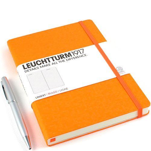 Средняя записная книжка Leuchtturm1917 Неон оранжевого цвета в линейку, фото