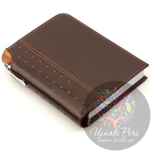 Блокнот Signature малый коричневый с ручкой, фото