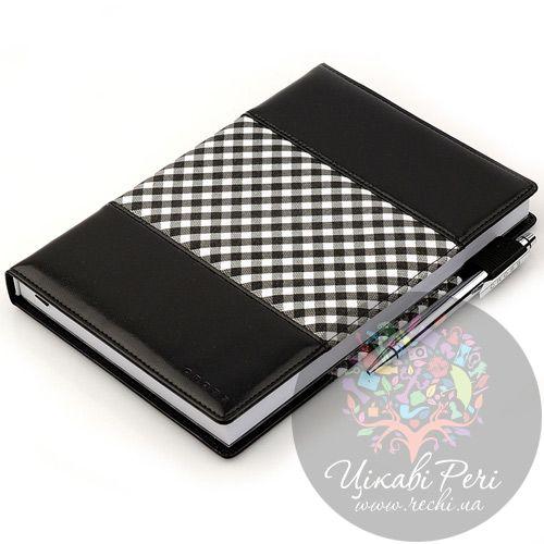 Блокнот Gingham средний черный с ручкой, фото