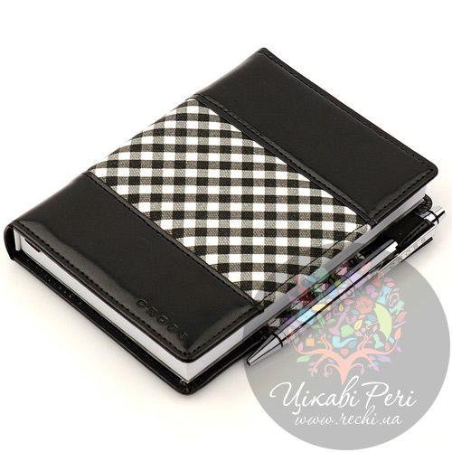 Блокнот Gingham малый черный с ручкой, фото