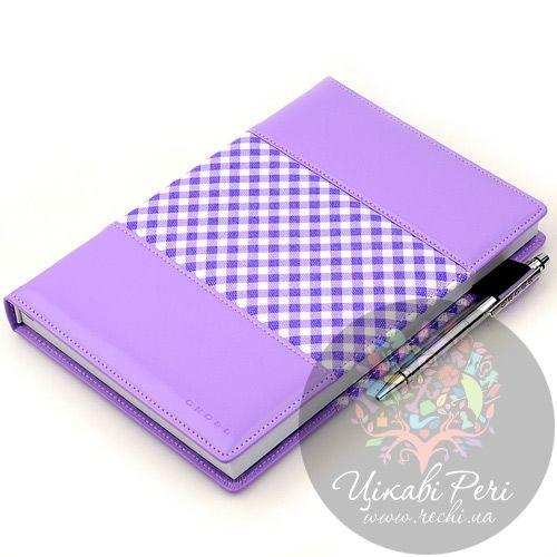Блокнот Gingham средний фиолетовый с ручкой, фото