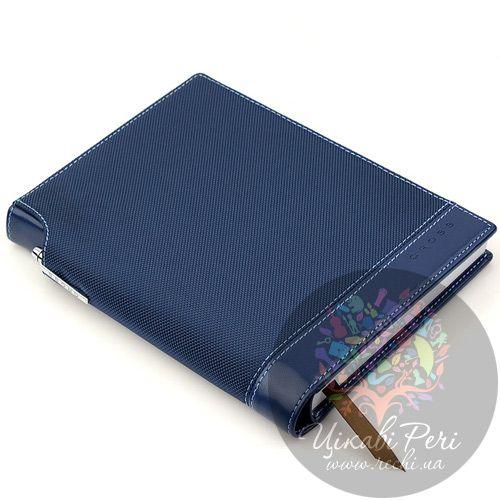 Блокнот Textured синий черный с ручкой, фото