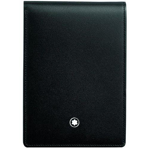Блокнот Montblanc малый в черной кожаной обложке, фото