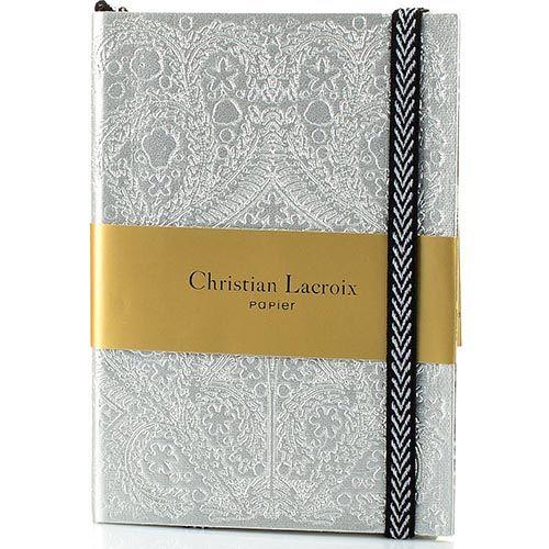 Блокнот Christian Lacroix Papier Paseo серебряный рельефный А6 с закладкой и эластичной зажимающей лентой, фото