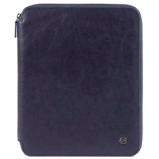 Папка Piquadro B2S в коже на молнии синего цвета, фото