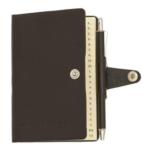Телефонная книга The Bridge Story Uomo кожаная черная с шариковой ручкой
