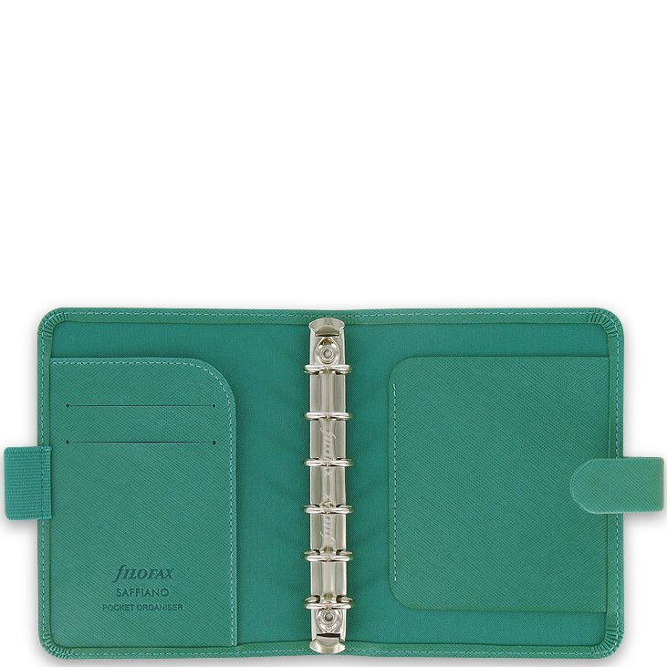 Небольшой органайзер Filofax Pocket Saffiano изумрудно-зеленого цвета