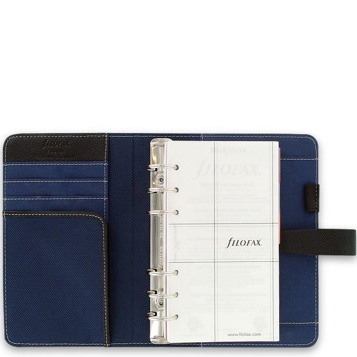 Органайзер Filofax Personal Fusion в сочетании темно-синей микрофибры и черной кожи