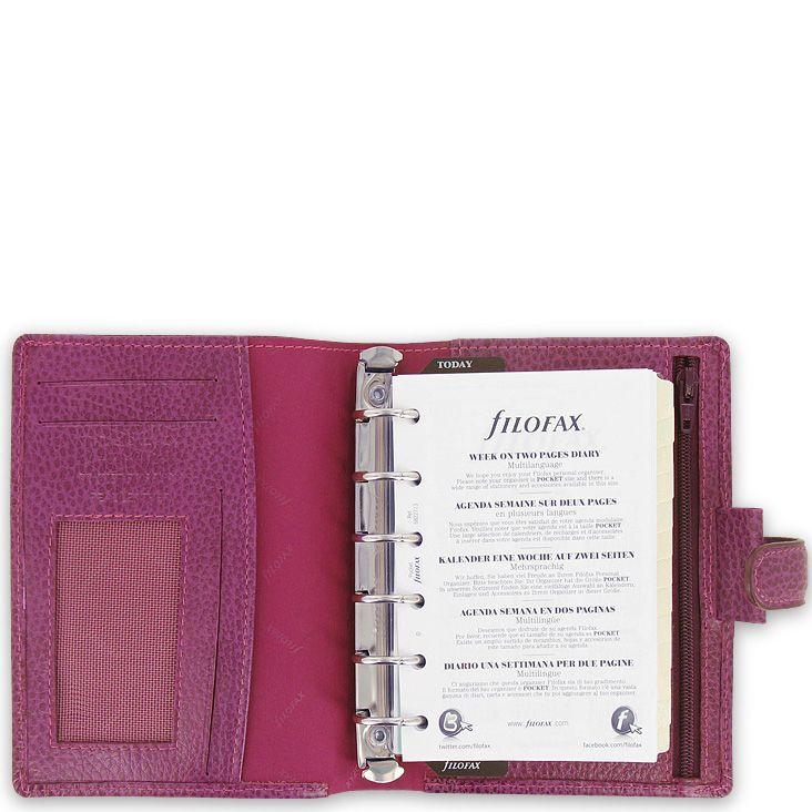 Компактный органайзер Filofax Pocket Finsbury кожаный ягодного цвета