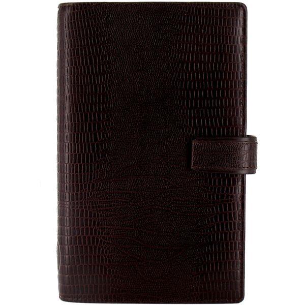Органайзер Filofax Compact Luxe кожаный темно-коричневый с фактурой рептилии