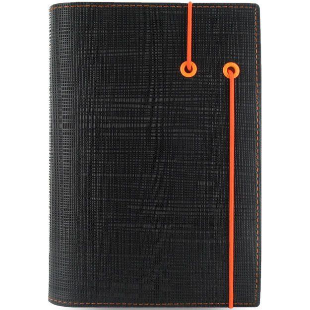 Органайзер Filofax Personal Apex черный с фактурой Сафьяно и оранжевой резинкой-креплением