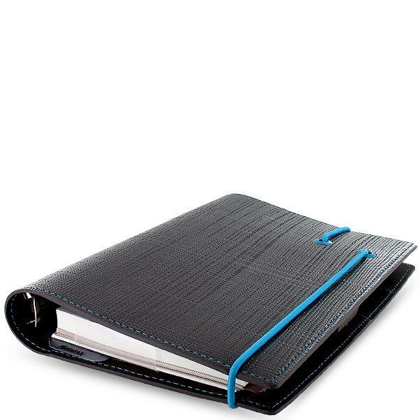 Органайзер Filofax Personal Apex темно-серый с фактурой Сафьяно и голубой резинкой-креплением