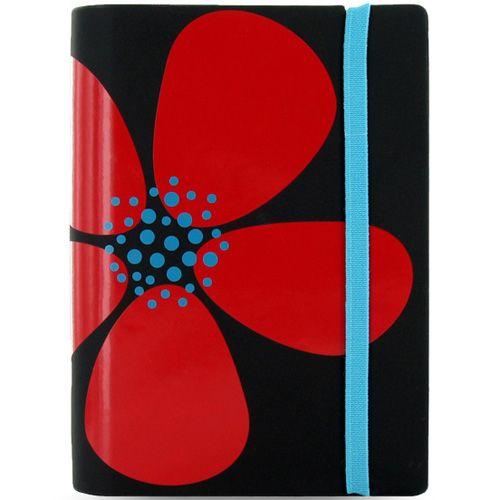 Маленький органайзер Filofax Pocket Petal черный с красным цветком на резинке