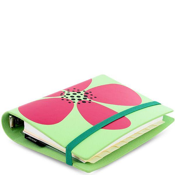 Маленький органайзер Filofax Pocket Petal светло-зеленый с розовым цветком на резинке