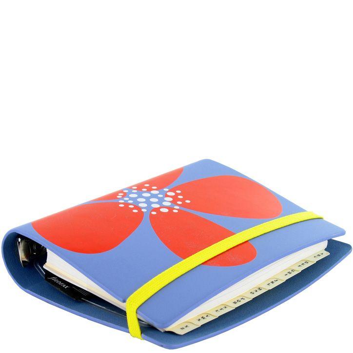 Маленький органайзер Filofax Pocket Petal голубой с красным цветком на резинке