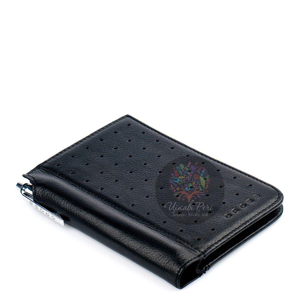Блокнот Cross Autocross в черной кожаной перфорированной обложке в комплекте с ручкой
