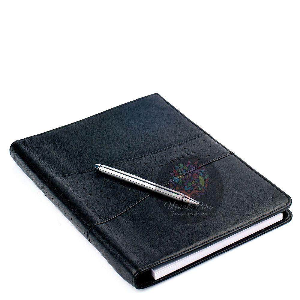 Блокнот Autocross Junior черного цвета в комплекте с ручкой Cross