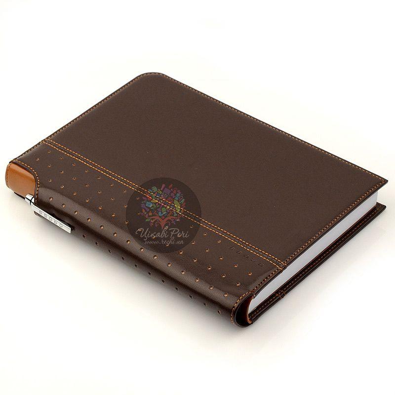Блокнот Signature средний коричневый с ручкой
