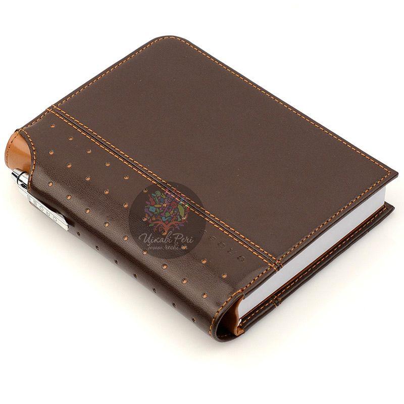 Блокнот Signature малый коричневый с ручкой