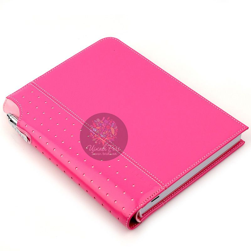 Блокнот Signature средний розовый с ручкой