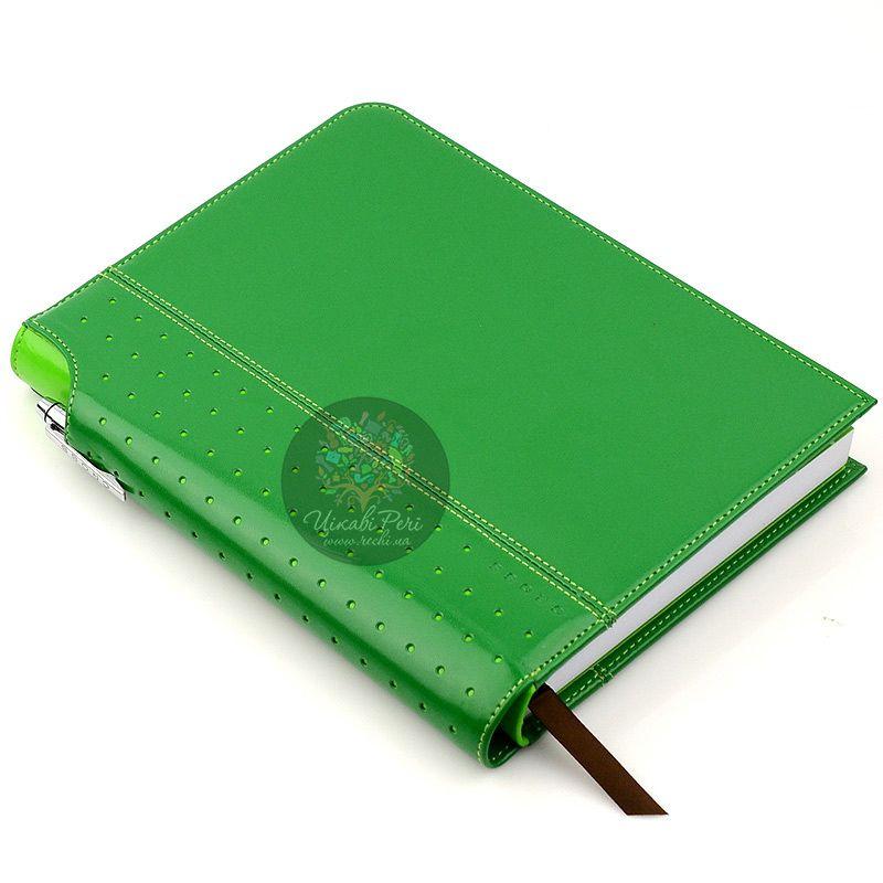 Блокнот Signature средний зеленый с ручкой