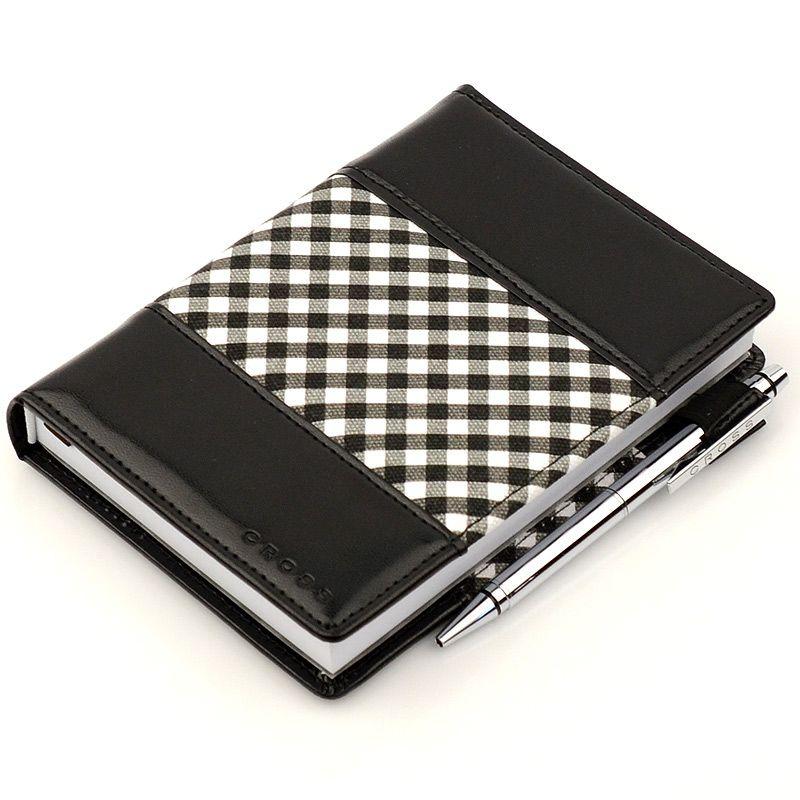 Блокнот Gingham малый черный с ручкой