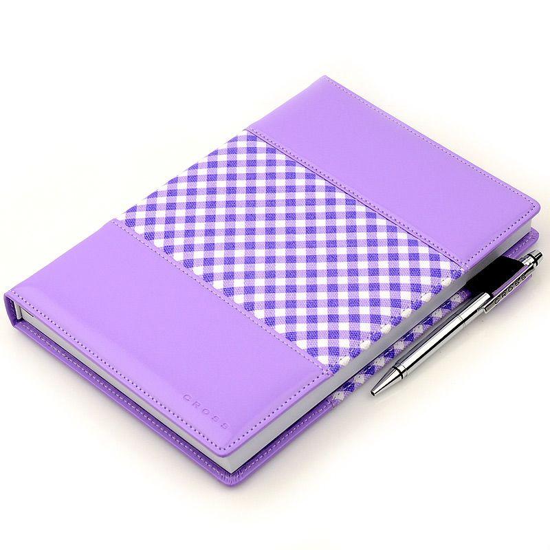 Блокнот Gingham средний фиолетовый с ручкой