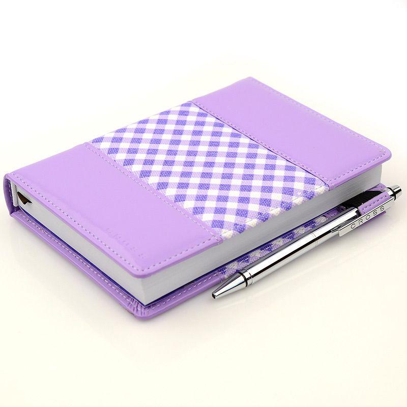 Блокнот Gingham малый фиолетовый с ручкой