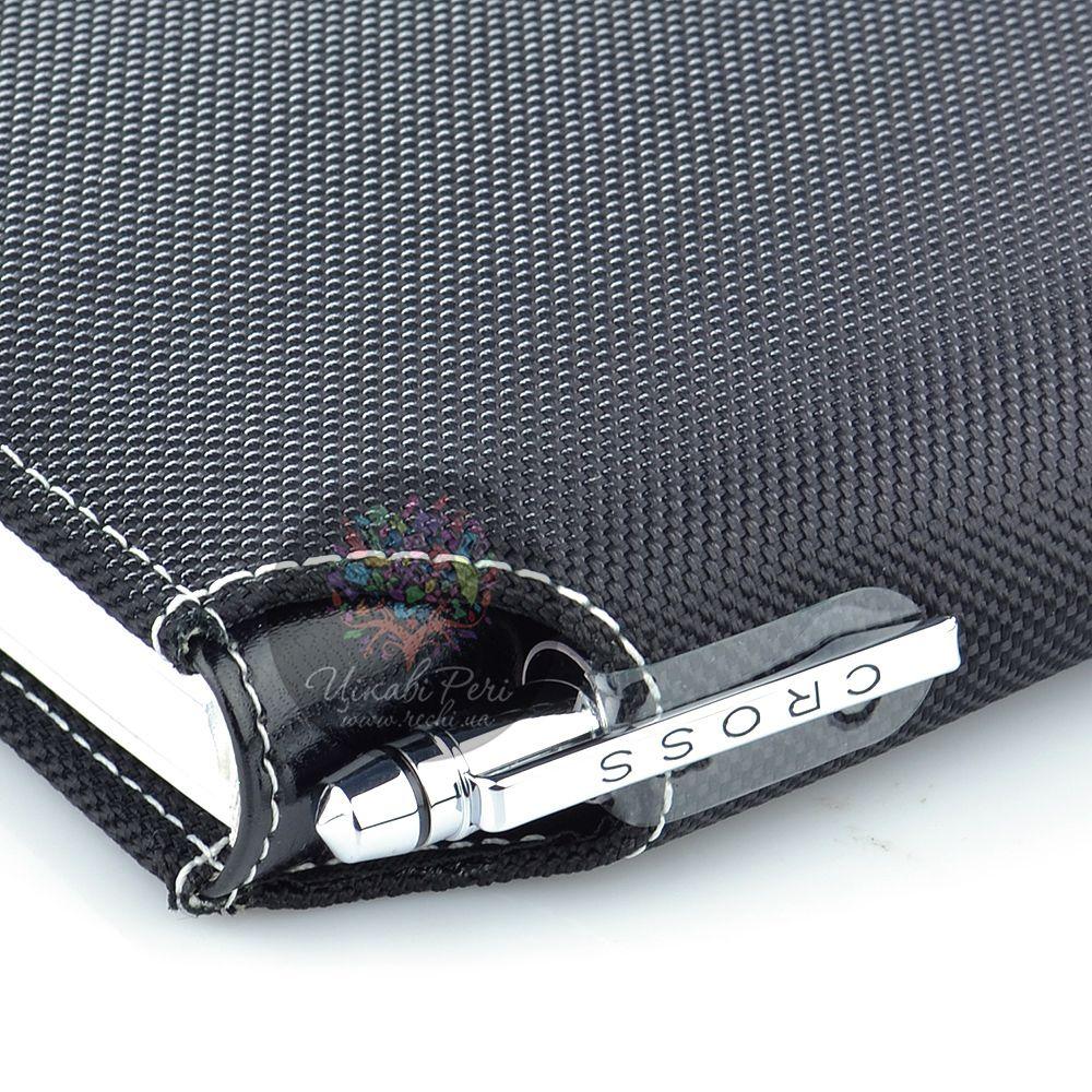 Блокнот Cross Textured малый черный текстильный с ручкой