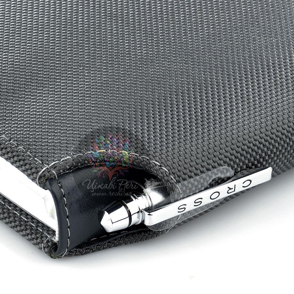Блокнот Cross Textured малый серый текстильный с ручкой
