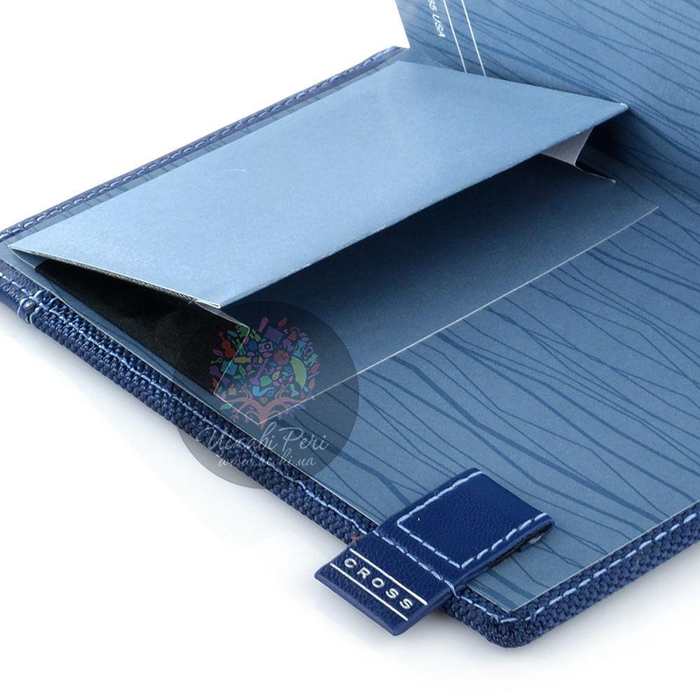 Блокнот Cross Textured малый синий текстильный с ручкой