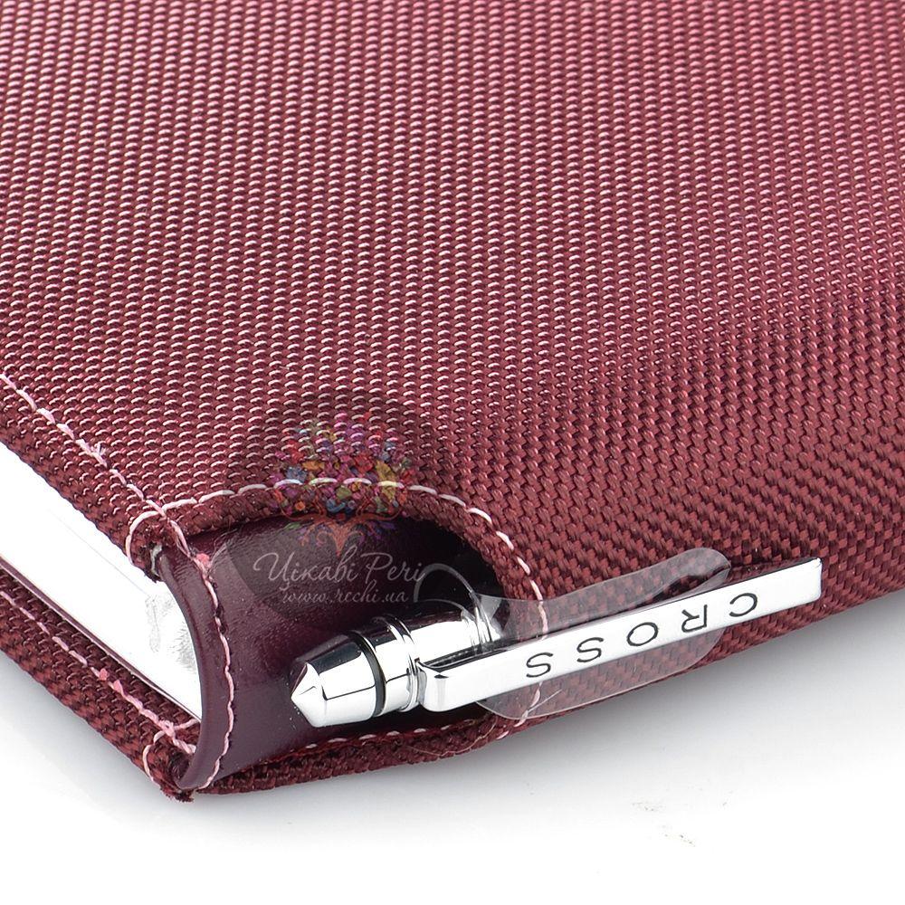 Блокнот Cross Textured малый цвета бордо текстильный с ручкой