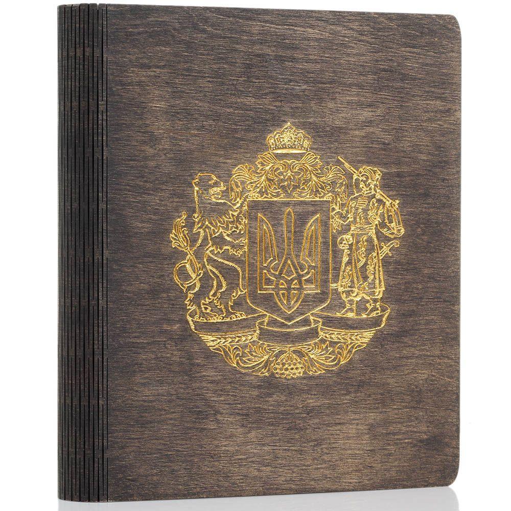 Блокнот из натурального дерева GBwoodArt с гербом тисненным золотом А5